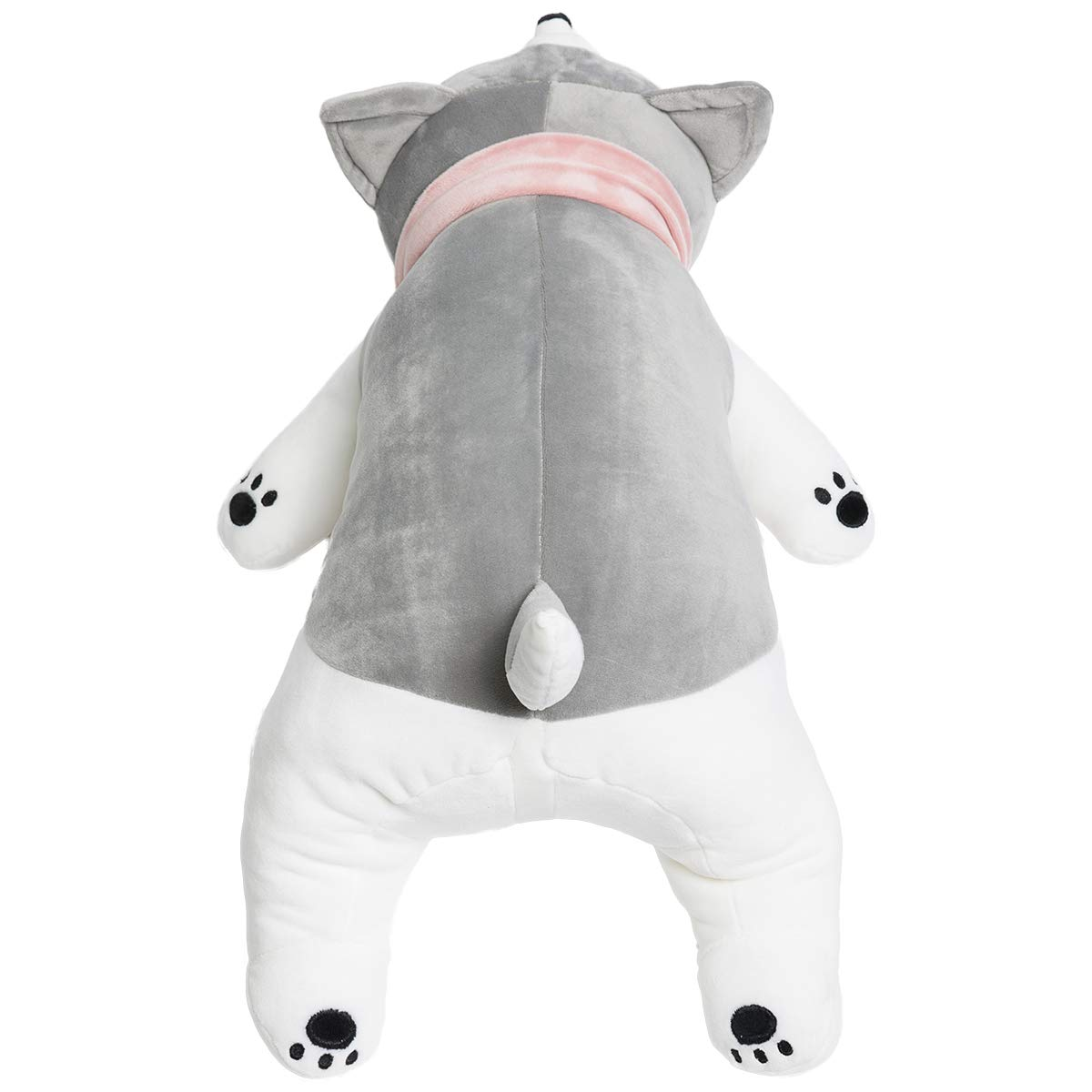 HollyHOME Stuffed Animal Dog Plush Throw Pillow 3D Siberian Husky Sleepy Eyed Baby Puppy Toy Wear Pink Scarf 22 Inches Gray