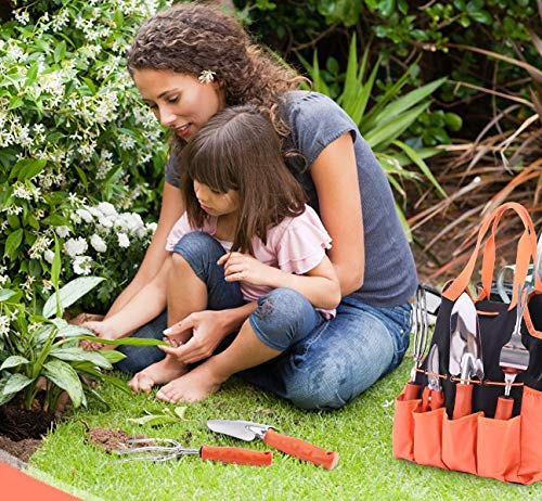 Colohas Garden Tools, 32 PCS Gardening Tool Set Heavy Duty Stainless Steel Garden Tool Set with Non-Slip Rubber Handle & Durable Storage Organizer Gardening Gifts for Women Men