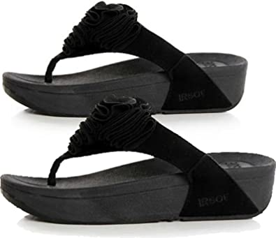 522b1e9873a74e Black TONING FLIP FLOPS Ladies Womens Low High Wedge Heel Sandals ...