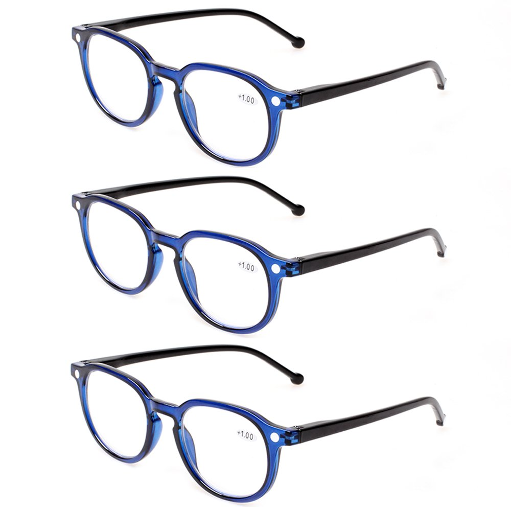 READING GLASSES 3 Pair Retro Round Spring Hinged Readers Great Value Quality Glasses for Reading (3 Pack Blue, 3.00)
