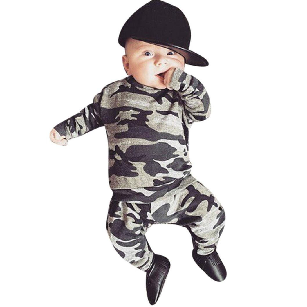 Sumen Newborn Kids Baby Boys Outfits Clothes Camouflage T-shirt Tops+Long Pants Set bessky