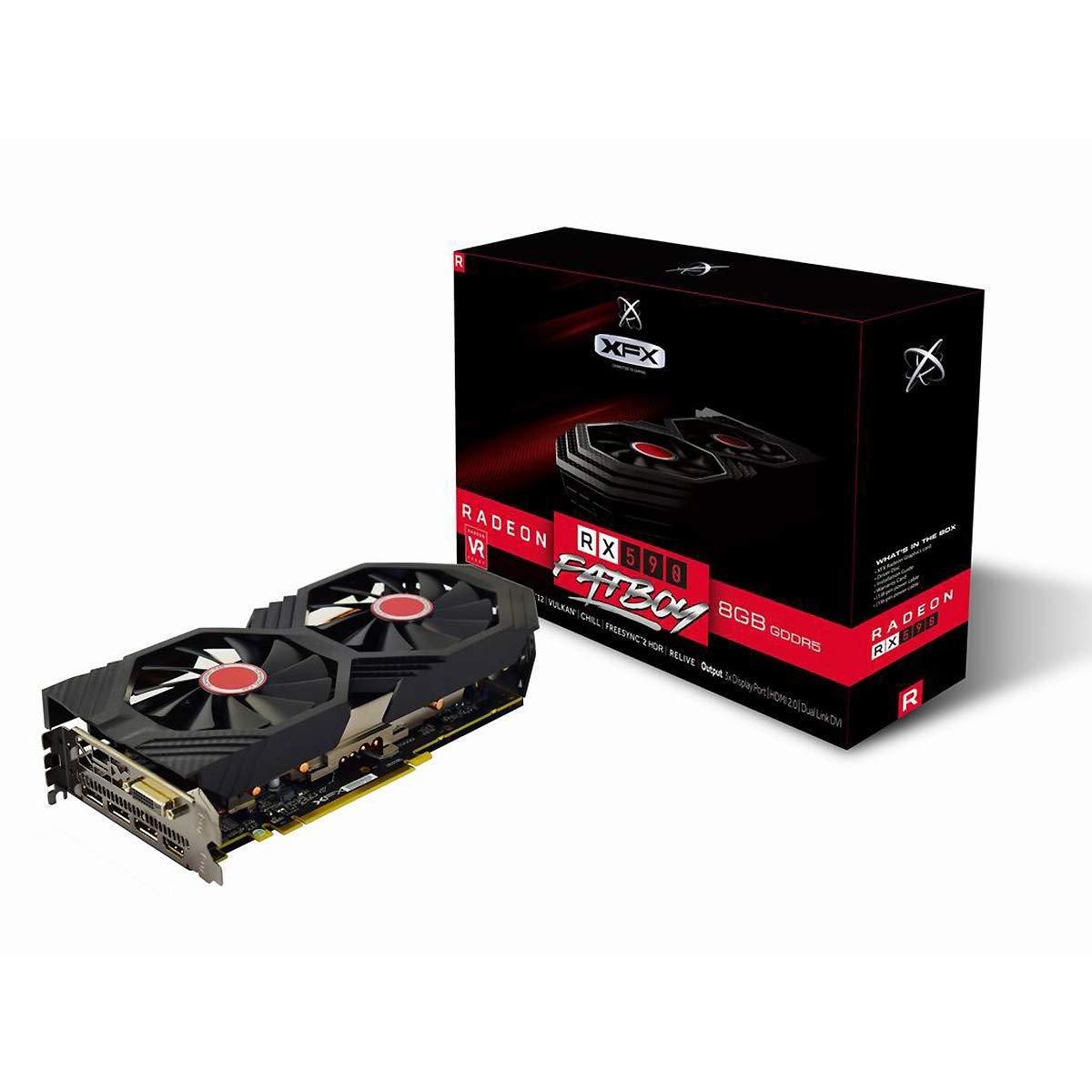 XFX RX-590P8DFD6 Radeon Rx 590 Fatboy 8GB OC+ 1580MHz DDR5 3xDP HDMI DVI Graphic Cards by XFX (Image #1)