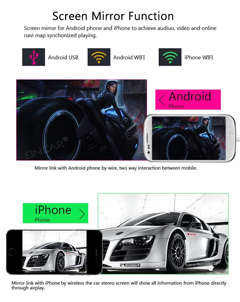 Eincar 7 Pulgadas de Coches Reproductor de Android 8.1 OS Oreo con Quad Core 2G 16G Soporte WiFi 3G 4G Espejo Enlace GPS OBD2 Bluetooth 4.0 1080P HD Video TF USB Am FM RDS
