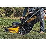 Dewalt 20v max lawn mower, 3-in-1, 2 batteries (dcmw220p2) 30 push mower comes with powerful brushless motor and (2) 20v max* batteries working simultaneously for high power output. 3-in-1 push lawn mower for mulching, bagging and side discharging battery lawn mower has heavy-duty 20-inch metal deck