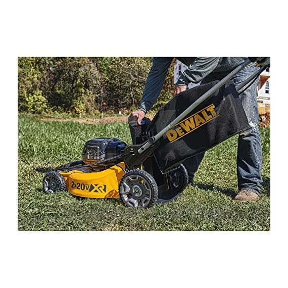 Dewalt 20v max lawn mower, 3-in-1, 2 batteries (dcmw220p2) 14 push mower comes with powerful brushless motor and (2) 20v max* batteries working simultaneously for high power output. 3-in-1 push lawn mower for mulching, bagging and side discharging battery lawn mower has heavy-duty 20-inch metal deck