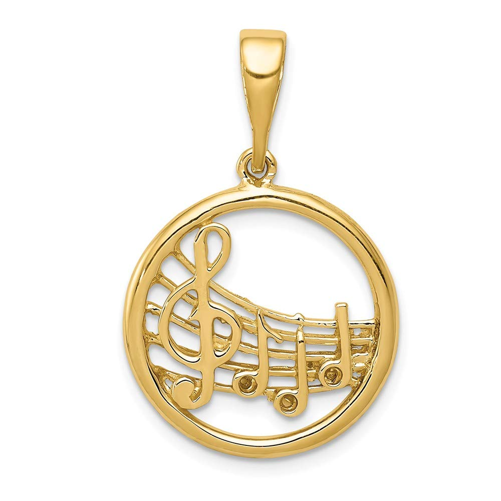 FB Jewels Solid 14K Yellow Gold Music Note Pendant