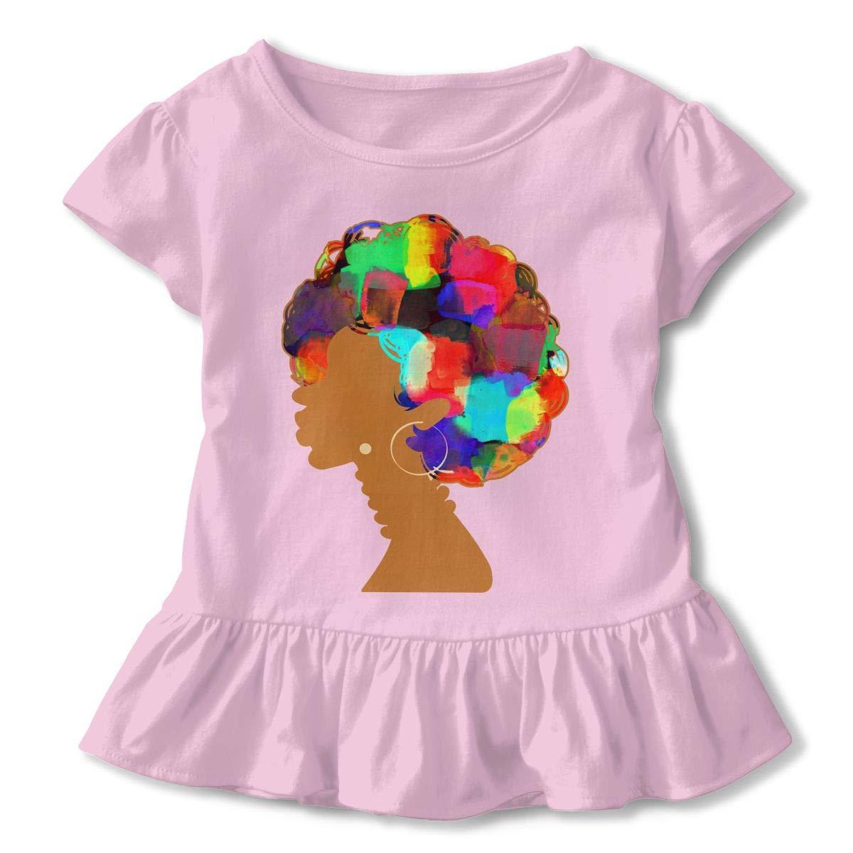 Cheng Jian Bo African Woman Curly Hair Toddler Girls T Shirt Kids Cotton Short Sleeve Ruffle Tee