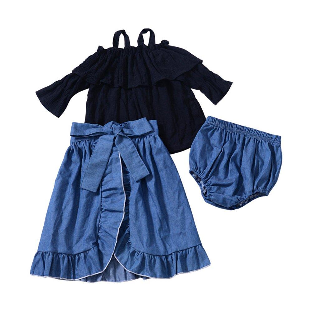 3Pcs/Set Girl Off-Shoulder Long-Sleeved Top+Lace Denim Skirt+PP Shorts(90cm)