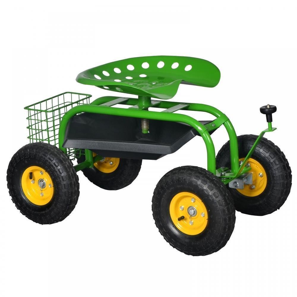 Generic Gar With Tool Tray lanting Gar Cart Rolling Work Seat ol Green Heavy ning P Duty Gardening een Heavy Planting Garden vy Duty Ga