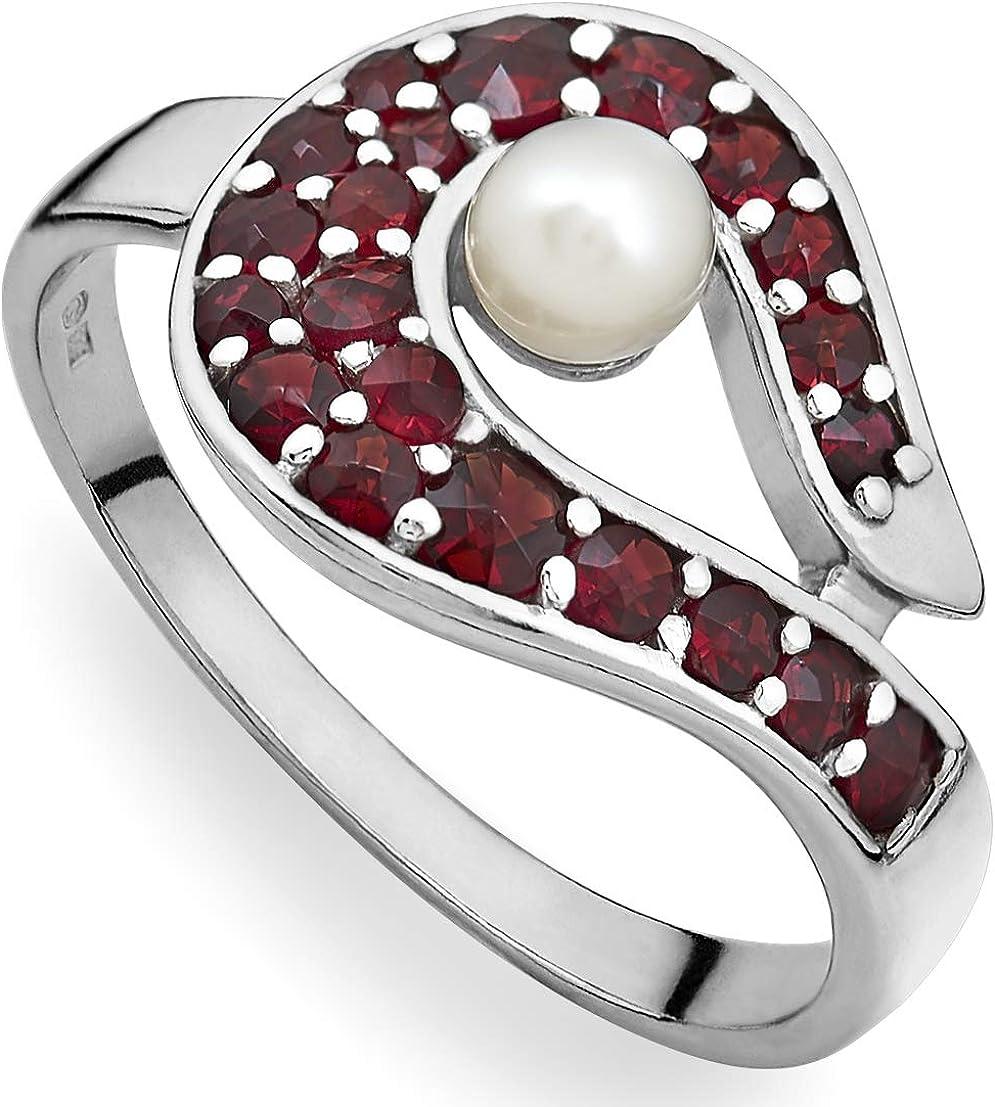 Verdster Anillo De Granate para Mujer Hechos A Mano con 21 Piedras Preciosas De Granate Checo & Perla - Plata Esterlina 925