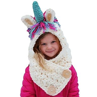 39b3850e19a1b Tacobear Crochet Cartoon Unicorn Winter Hat with Scarf Pocket Hooded  Knitting Beanie Cosplay Photography - White -  Amazon.co.uk  Clothing