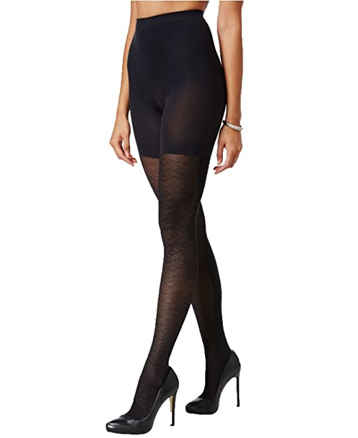 a290a10205b691 Star Power by SPANX Women's Geo Contrast Patterned Shaping Tights, Black ( Size ...