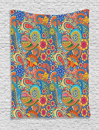 Ambesonne Asian Decor Collection, Colorful Paisley Floral Pattern Classical Ornamental Medieval Ethnic Art, Bedroom Living Room Dorm Wall Hanging Tapestry, Blue Yellow Red Teal Green