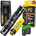 NITECORE P12 1000 Lumens CREE LED tactical flashlight w/ Niteocre UM10 USB charger, Nitecore NL186 2600mAh rechargeable 18650 Battery and 2 X EdisonBright CR123A Lithium Batteries Bundle from Nitecore