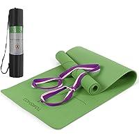 TOMSHOO Gymnastiekmat, antislip, huidvriendelijke yogamat met draagriem, ftalaatvrije fitnessmat met oriëntatielijnen…