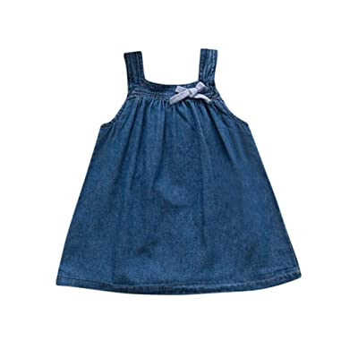 Sunbibe 1-3 Years Old Baby Girls Dresses Cute Solid Sleeveless Princess Denim Sundress 0 Shipping