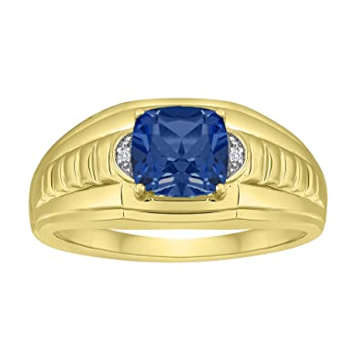 3f460f4a7c7f2 Esty & Me Men's 8x8mm Simulated Sapphire Ring in Sterling Silver