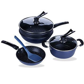 TAFOND - Juego de utensilios de cocina antiadherentes de aluminio (7 piezas, incluye vaporera