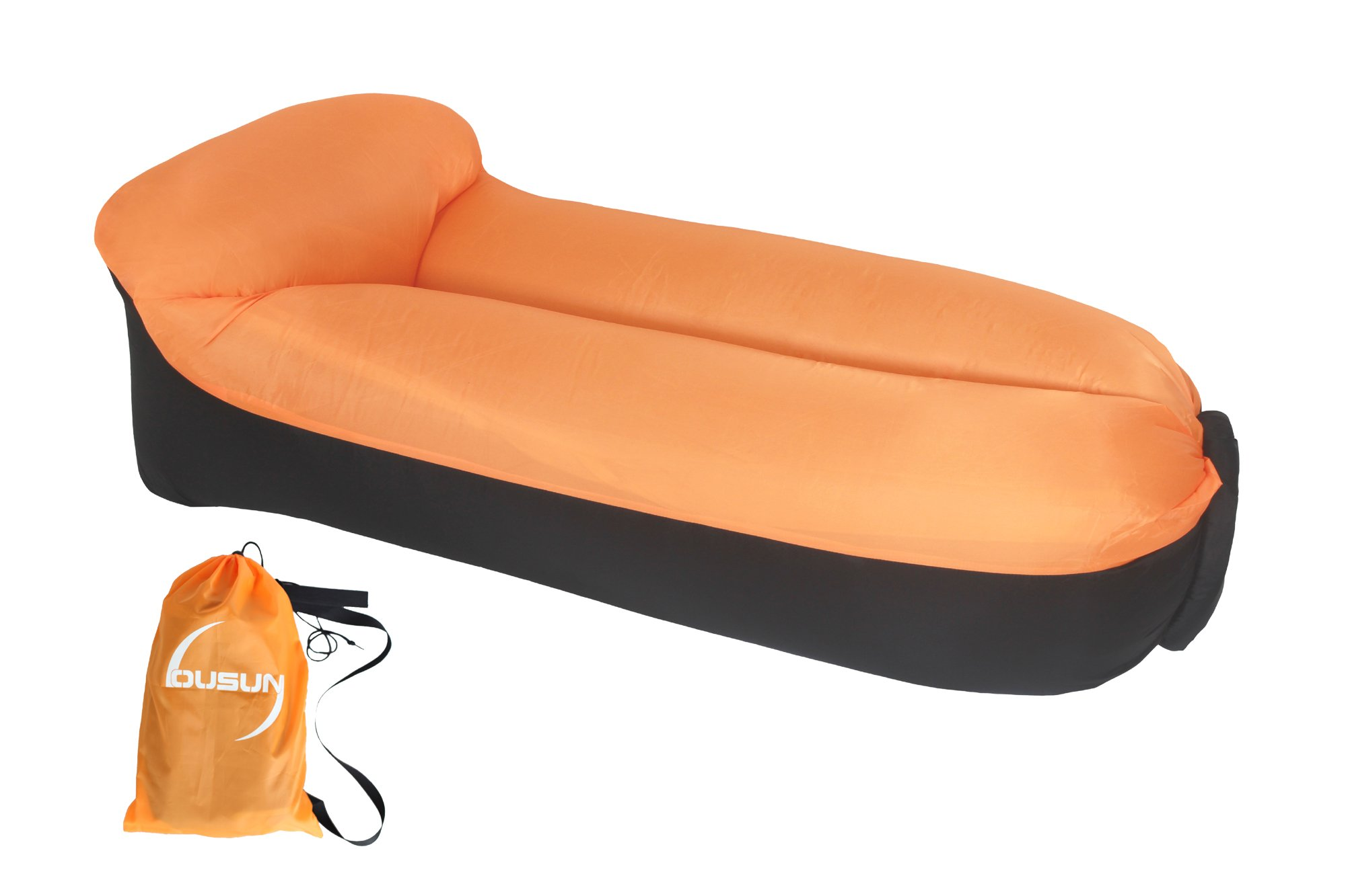 OUSUN inflatable lounge chair, airsofa, inflatable lounger, ideal for music festival and camping, inflatable air lounger-Orange