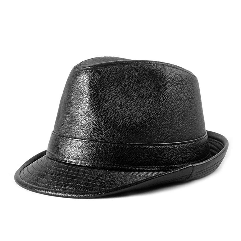 PU Leather Fedoras Hats for Men Women Fedora Top Hat Panama Jazz Cap