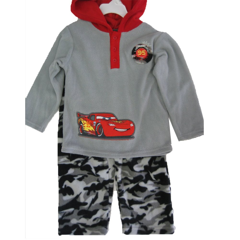 Cars Little Boys Gray Red Lighting McQueen Print Hooded Camo 2 Pc Pants Set 2T-4T ABC Brand Name Inc.