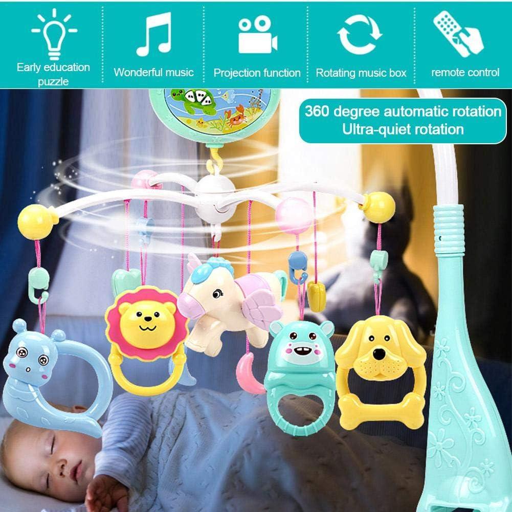 Presepe Musicale per Bambini Letto Mobile Campana Giocattoli Sonagli sospesi e Telecomando Sonaglio Giocattoli per Neonati gaeruite Presepe Musicale per Bambini Mobile con proiettore e Carillon