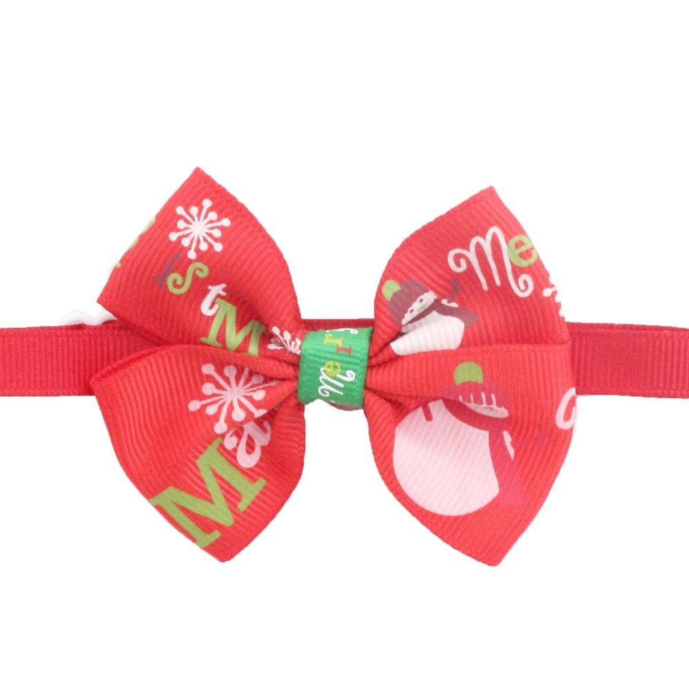 50PCs Dog Collar Handmade Bow Tie Red Snowman Merry Christmas Dress up Small Medium Dog