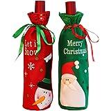Cubierta de la botella de vino de Navidad,2 unids Navidad Botella de Vino Cubiertas Bolsas Decoración de la Mesa de Cena Para la Decoración Del Partido
