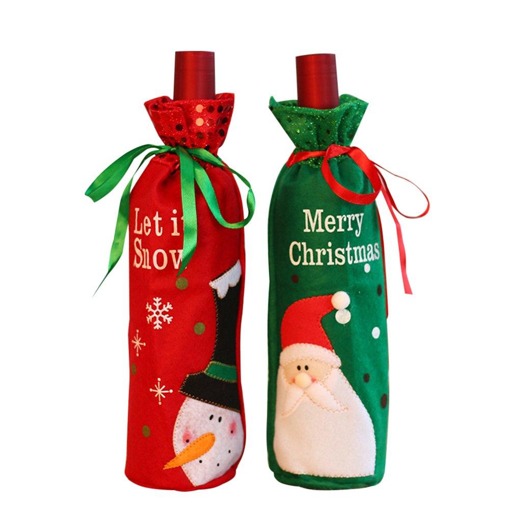 Coperchio della bottiglia di vino di Natale, 2pcs sacchetti della bottiglia di vino di Natale Borse Decorazione del tavolo da pranzo per la decorazione del partito CDKJ