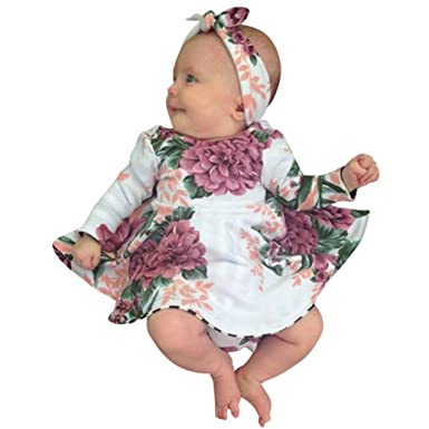 2389446e9018 Viahwyt Spring Infant Baby Girls Floral Print Princess Dresses Bowknot  Headband Clothing Set Long Sleeves Party Sundress Cute Toddler Kids Outfits  Lolly  ...