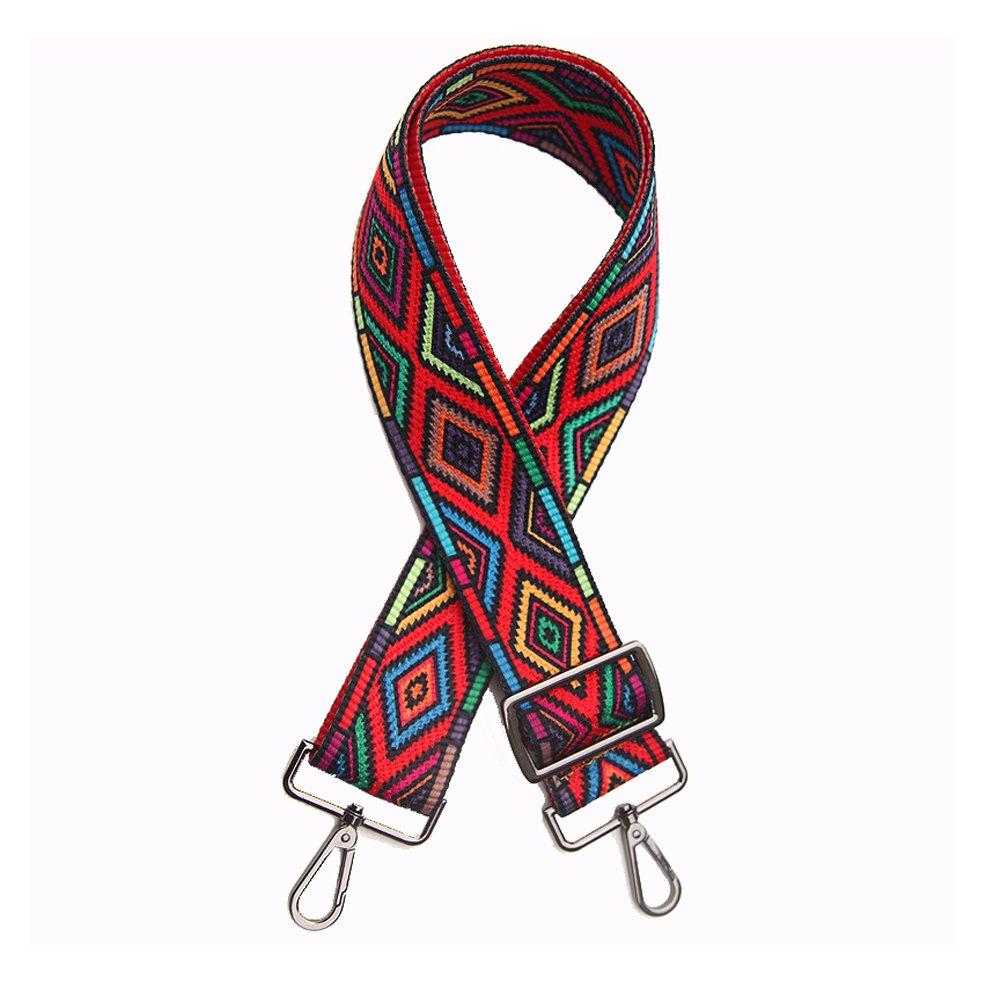 Women Girls 5.0cm Wide Purse Strap Replacement Fashion Style Multicolor Canvas 75cm-135cm Crossbody Strap for Handbags