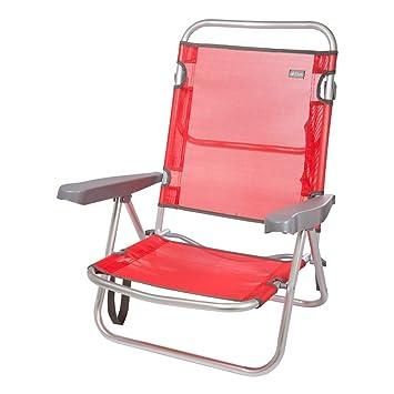 Aktive 53970 Silla Plegable multiposición Aluminio Beach, 108 x 60 x 78 cm, Rojo