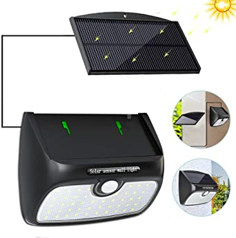 60LED Lampe Solaire PIR Capteur de mouvement extérieur jardin murale Etanche Dimmable Lampe