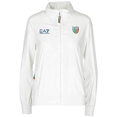 Emporio Armani EA7 Blouson Italia Team Femme Bianco S  Amazon.fr  Vêtements  et accessoires a7092d627ce