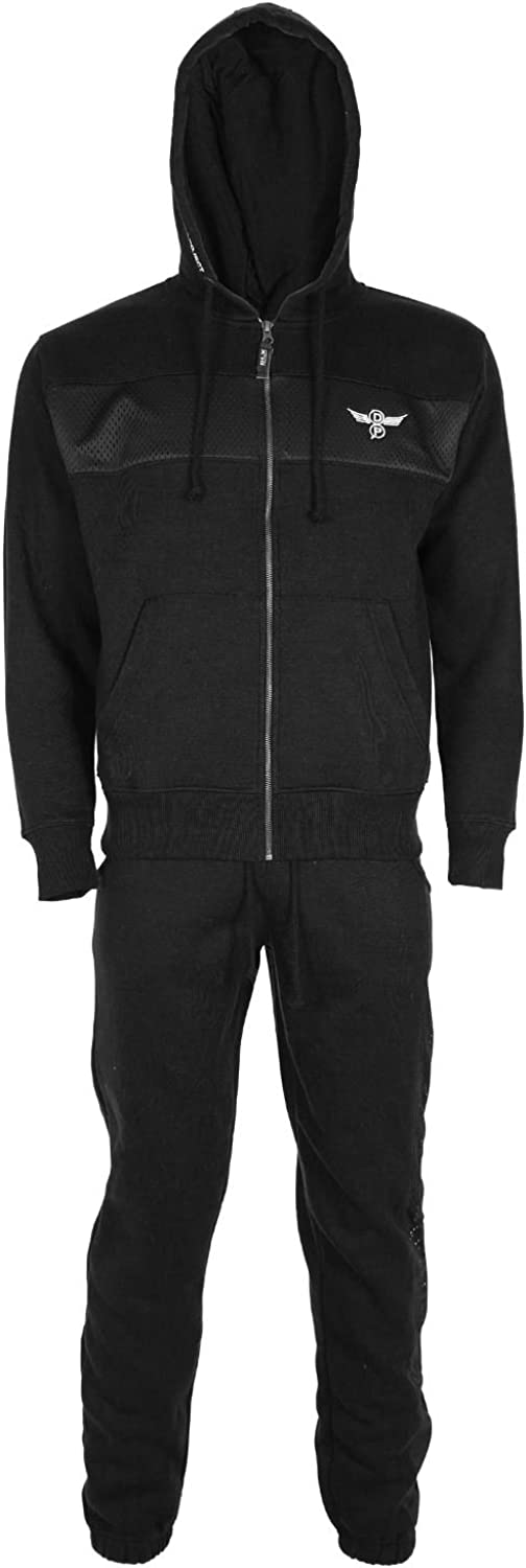 Oops Outlet Mens Essentials DLX Project Full Zip Up Hooded Fleece Tracksuit