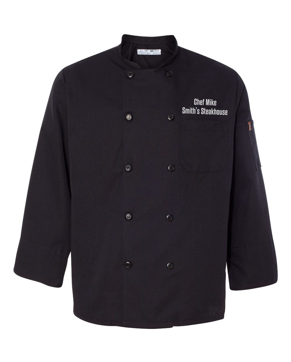 Chef Designs Ten Pearl Button Black Chef Coat with Custom Text, Large