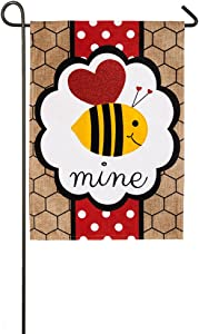 Evergreen Flag Embroidered Bee Mine Valentine Burlap Garden Flag - 12.5 x 18 Inches Outdoor Decor for Homes and Gardens