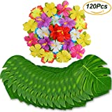 FLY2SKY 120PCS Palm Leaves Tropical Party Decorations Supplies 8'' Artificial Palm Leaves Hibiscus Flowers Simulation Leaf Luau Party Décor Moana Jungle Beach Theme Birthday Party Hawaiian Decorations