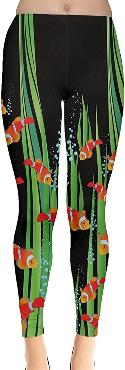 CowCow Womens Turtles Dolphins Lobster Crab Whale Fish Penguins Sea Animal Seahorse Jellyfish Shells Leggings, XS-5XL