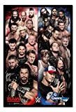 WWE Raw V Smackdown Poster Black Framed & Satin Matt Laminated - 96.5 x 66 cms (Approx 38 x 26 inches)