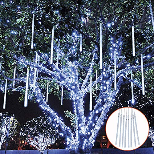 TOPIST Falling Rain Decoration Lights, Waterproof LED Meteor Shower Lights, 30cm 8 Tube 144 LED Icicle Snow Fall String Cascading Fairy Lights for Party, Holiday, Xmas Tree, Garden (White) (Christmas Cascading Tree)