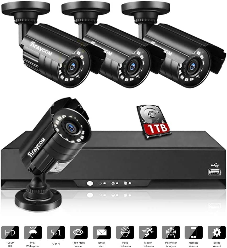 Rraycom 8CH Security Surveillance System HD-TVI 2MP Lite 5 in1 DVR with 4 1080P IP67 Weatherproof Bullet Cameras for Outdoor,115ft Night Vision,1TB HDD,Support IP Cameras,Motion Alert, Remote Access