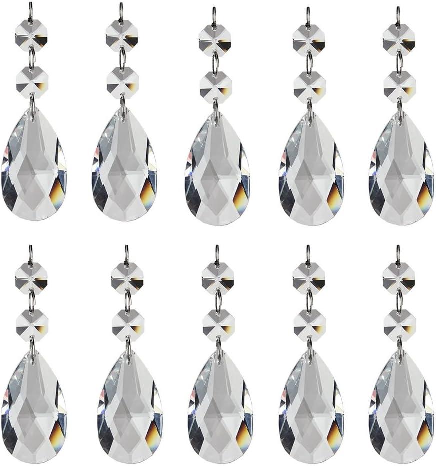10 Paquetes Colgantes de Cristal para Lamparas Araña Pendientes d Cristal de Lágrima Granos para la Decoración de Boda Fiesta Hogar Oficina,50mm Prisma