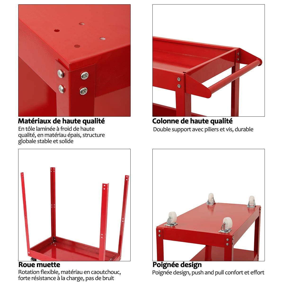 MultiWare Tool Cart 3 Tier Shelf Heavy Duty Garage Workshop DIY Tool Storage Wheel Cart Trolley