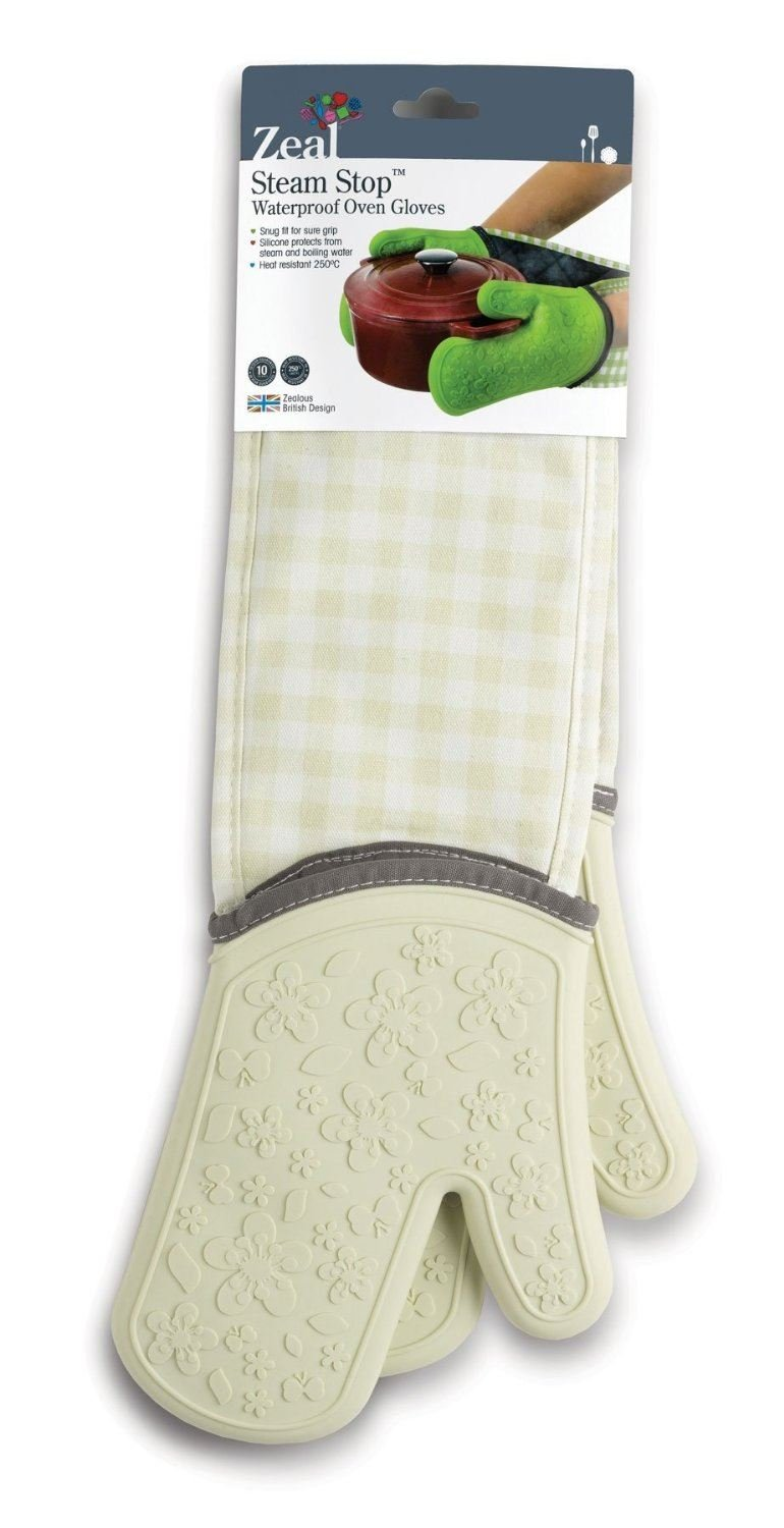 Zeal Steam Stop Silicone Waterproof Oven Mitts/Gloves, Gingham Cream by Zeal