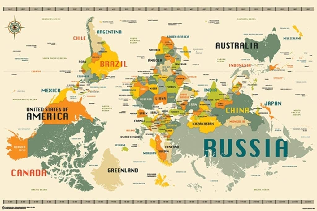 World Map Upside Down Amazon.com: World Map Upside Down by Jazzberry Blue Art Print