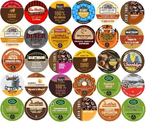 30-count K-cup for Keurig Brewers All Coffee REGULAR & FLAVORED Variety Pack Featuring Tim Horton's, Green Mountain, Coffee People, Newman's Own Organic, Donut House, Caza Trail, Gloria Jean's, Grove Square Cappuccino, Authentic Donut House, Barnie's Coffee Kitchen, Hurricane, Guy Fieri, Brown Gold, Martinson, Marley Coffee, Brooklyn Bean, & Java Factory (Gloria Jeans Cappuccino K Cups compare prices)