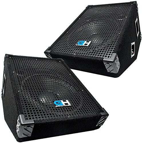Grindhouse Speakers - GH12M-Pair - Pair of 12 Inch Passive Wedge Floor / Stage Monitors  350 Watts RMS each  - PA/DJ Stage, Studio, Live Sound 10 Inch Monitor by Grindhouse Speakers