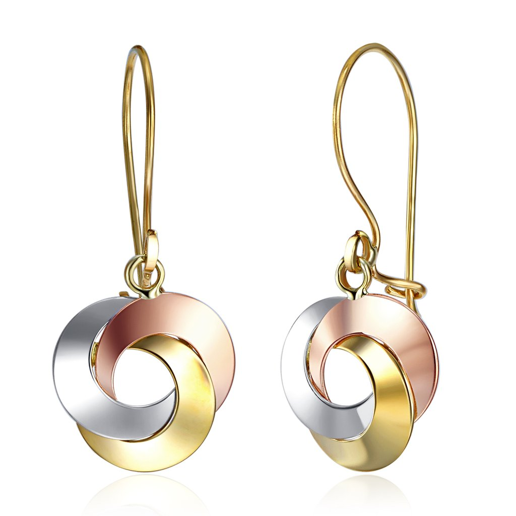 Wellingsale Ladies 14k Tri 3 Color Gold Polished Knot Drop Earrings