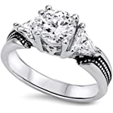 Sterling Silver Round Clear Cubic Zirconia & Triangle CZ Side Stones Ring
